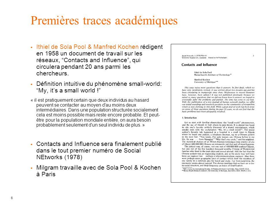 Premières traces académiques