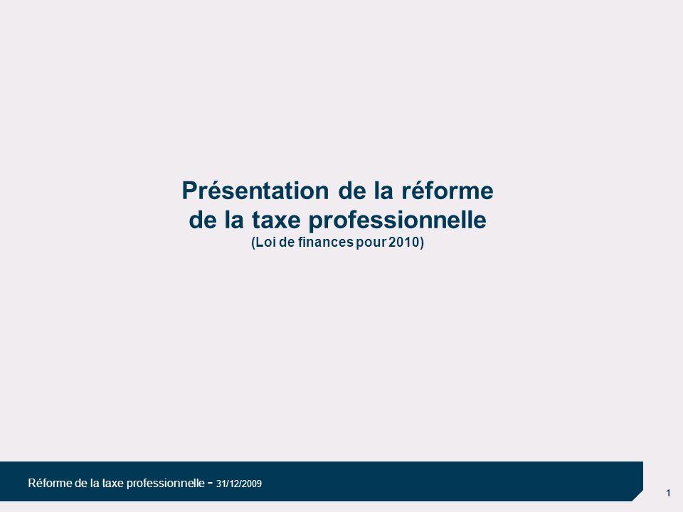 08/04/10 08/04/10. Présentation de la réforme de la taxe professionnelle (Loi de finances pour 2010)