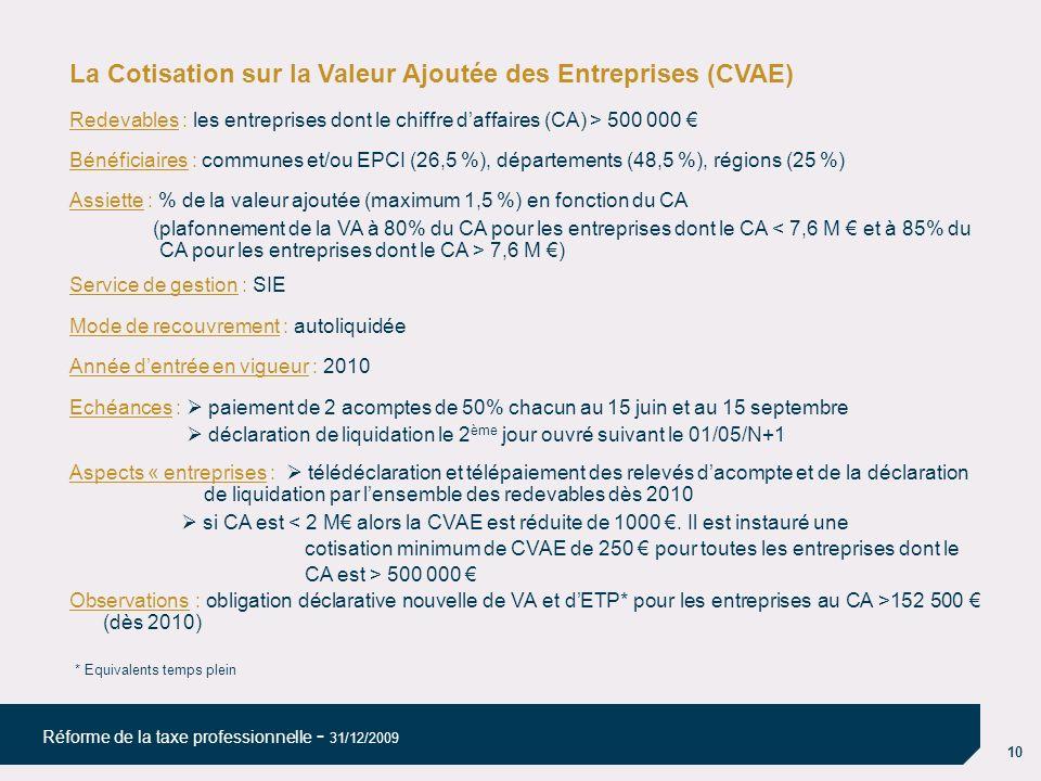 La Cotisation sur la Valeur Ajoutée des Entreprises (CVAE)