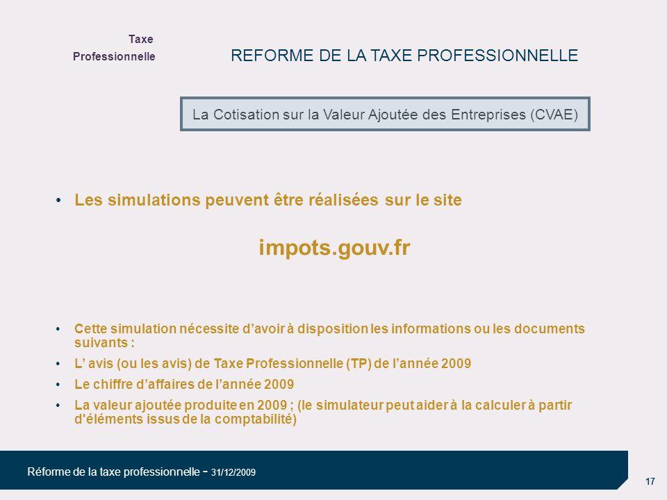 impots.gouv.fr REFORME DE LA TAXE PROFESSIONNELLE