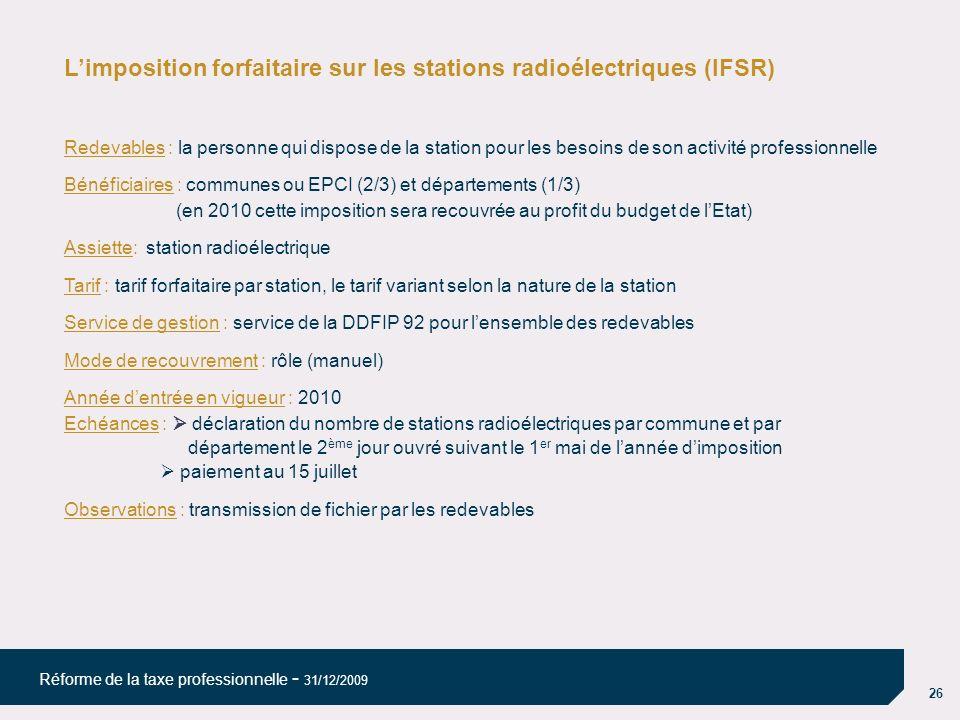 L'imposition forfaitaire sur les stations radioélectriques (IFSR)