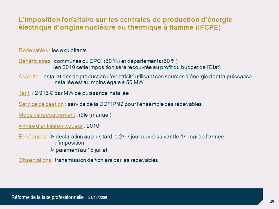 L'imposition forfaitaire sur les centrales de production d'énergie