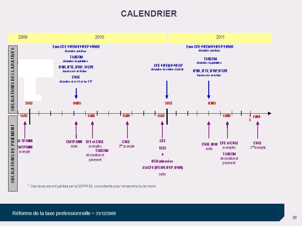 22/03/10 08/04/10. CALENDRIER. 1 Ces taxes seront gérées par la DDFIP 92, compétente pour l'ensemble du territoire.