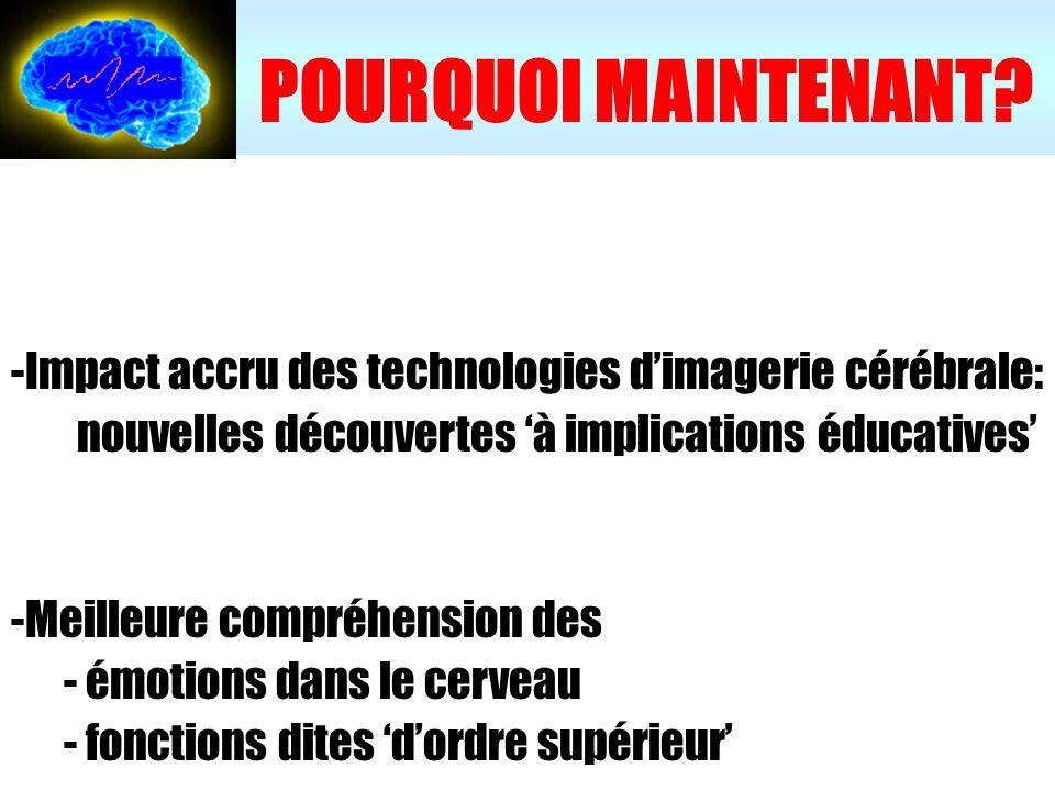 POURQUOI MAINTENANT Impact accru des technologies d'imagerie cérébrale: nouvelles découvertes 'à implications éducatives'
