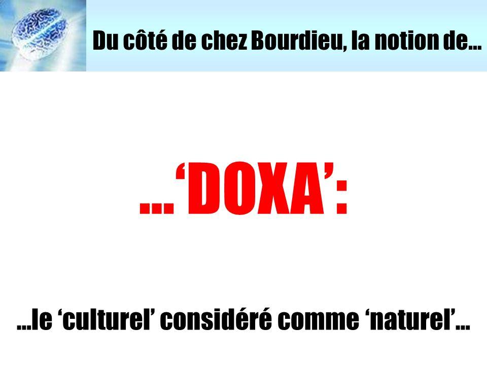 …le 'culturel' considéré comme 'naturel'…