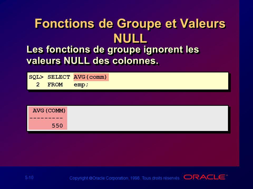 Fonctions de Groupe et Valeurs NULL