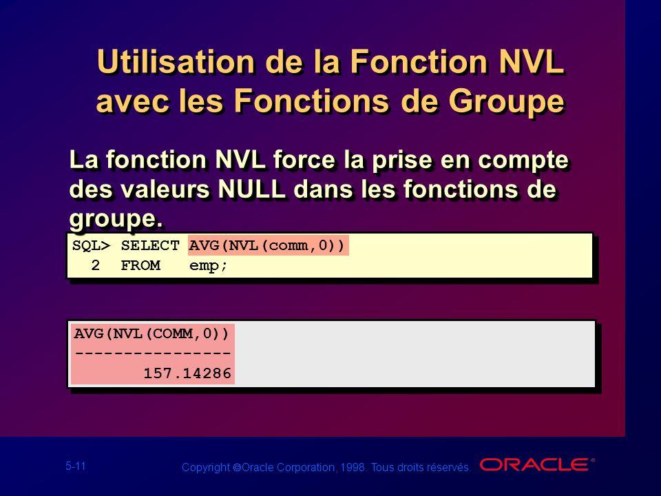 Utilisation de la Fonction NVL avec les Fonctions de Groupe