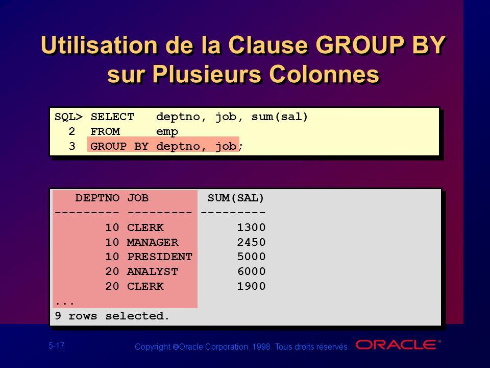 Utilisation de la Clause GROUP BY sur Plusieurs Colonnes