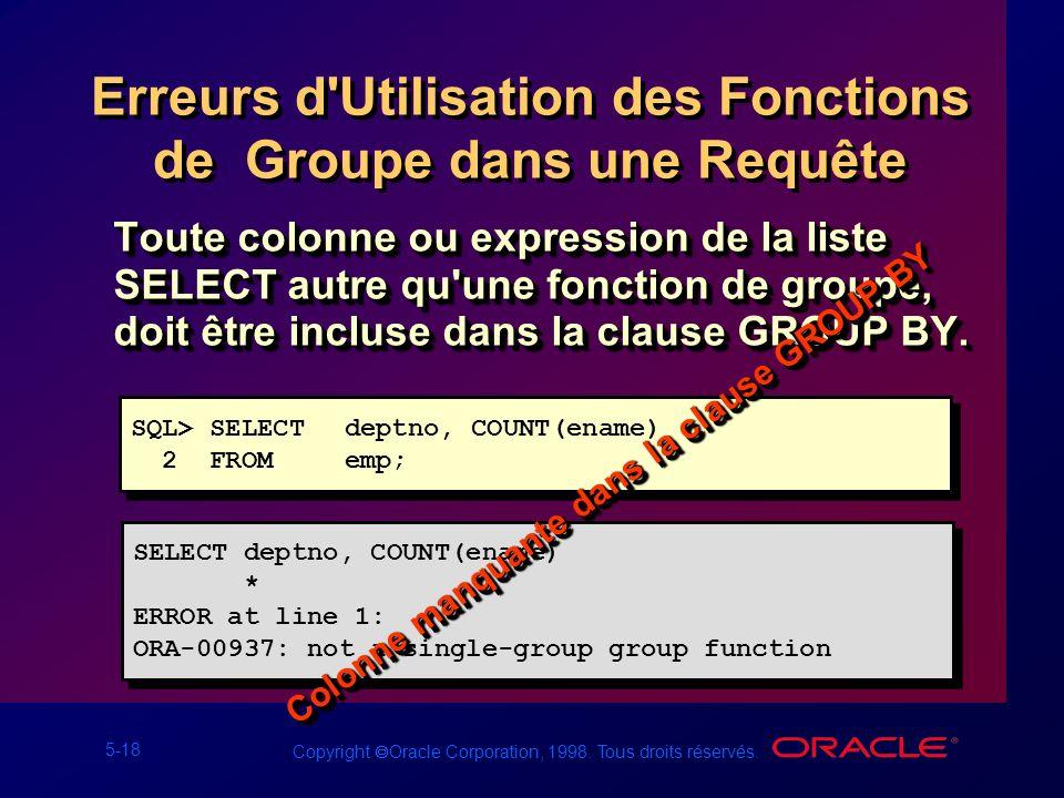 Erreurs d Utilisation des Fonctions de Groupe dans une Requête