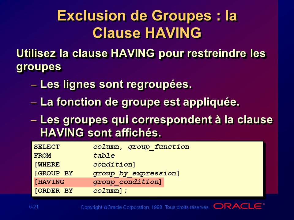 Exclusion de Groupes : la Clause HAVING