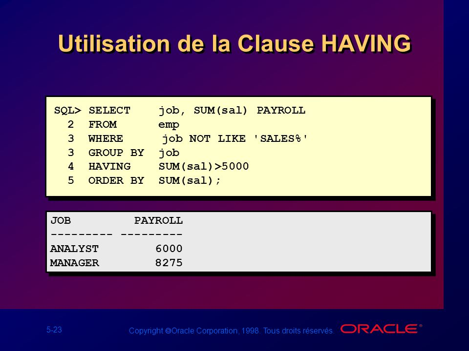 Utilisation de la Clause HAVING