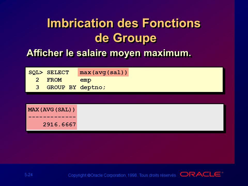 Imbrication des Fonctions de Groupe