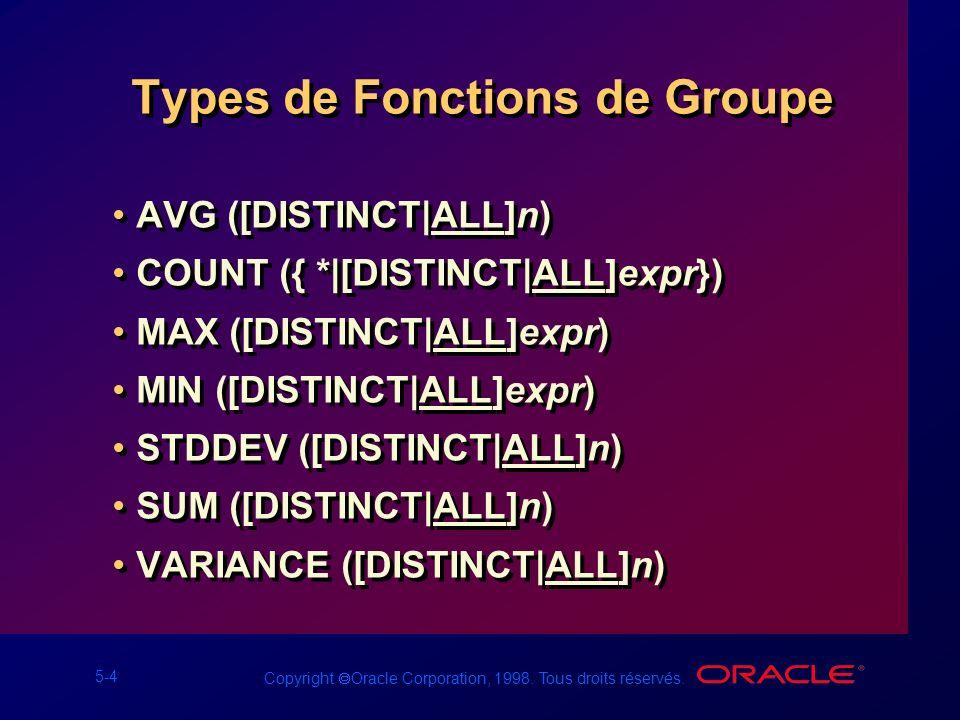 Types de Fonctions de Groupe