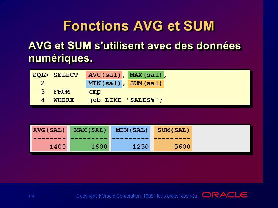 Fonctions AVG et SUM AVG et SUM s utilisent avec des données numériques. SQL> SELECT AVG(sal), MAX(sal),