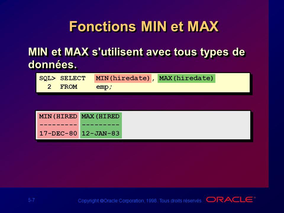 Fonctions MIN et MAX MIN et MAX s utilisent avec tous types de données. SQL> SELECT MIN(hiredate), MAX(hiredate)