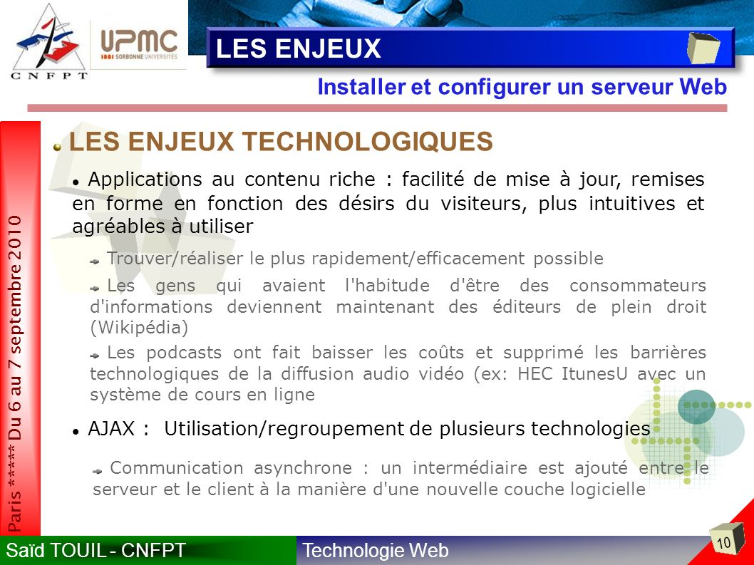 LES ENJEUX TECHNOLOGIQUES