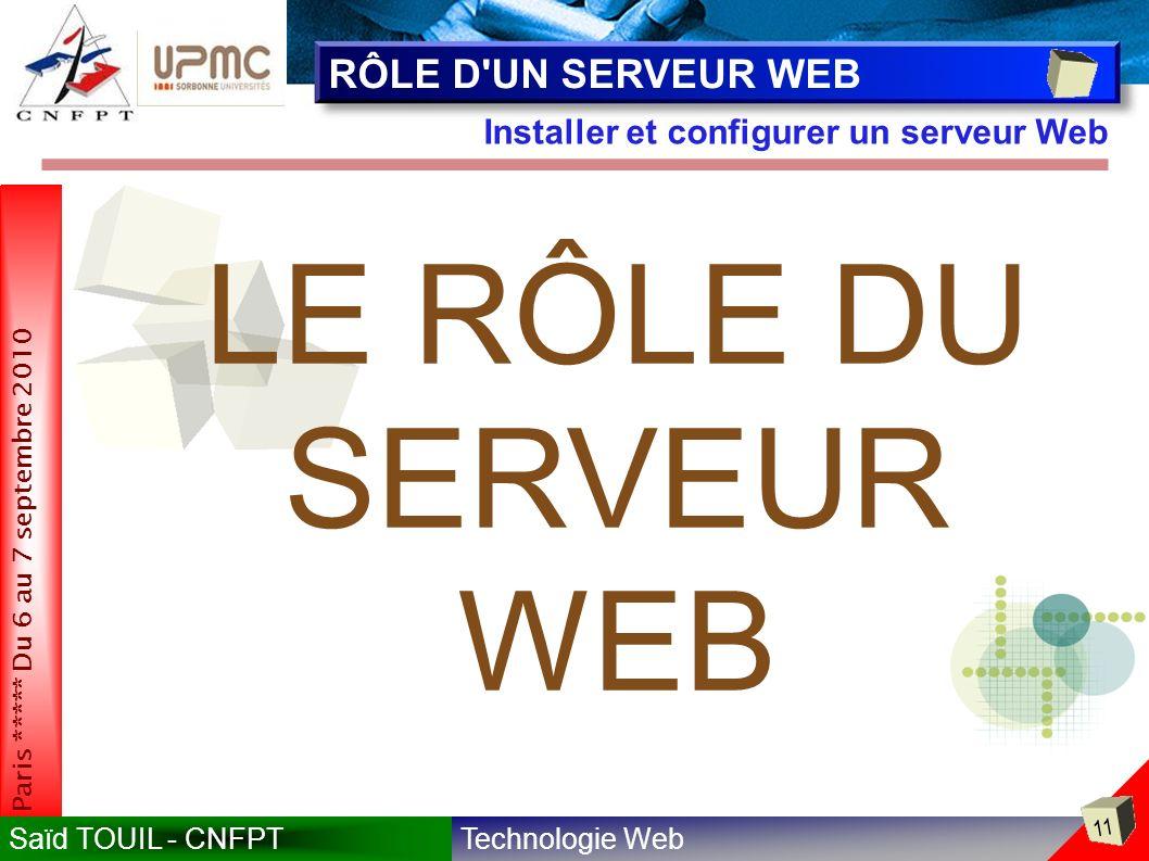LE RÔLE DU SERVEUR WEB RÔLE D UN SERVEUR WEB