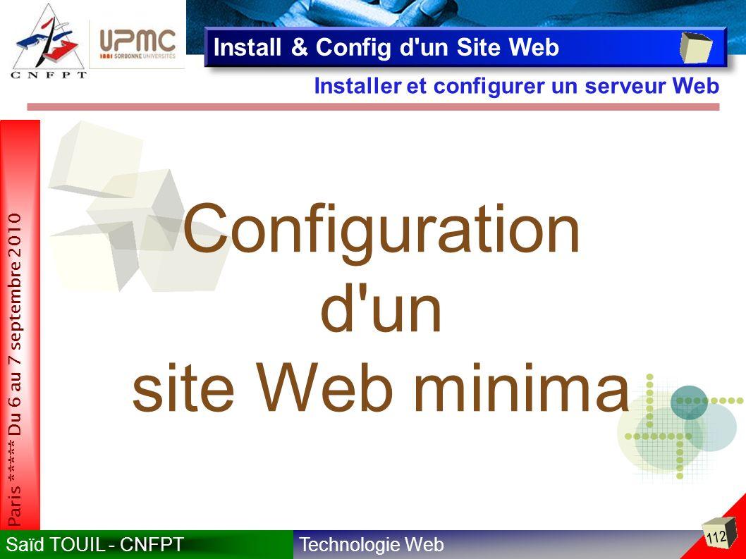 Configuration d un site Web minima Install & Config d un Site Web