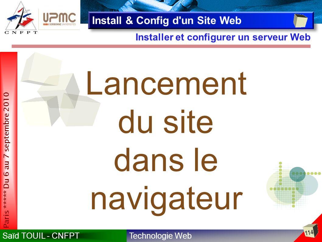 Lancement du site dans le navigateur Install & Config d un Site Web