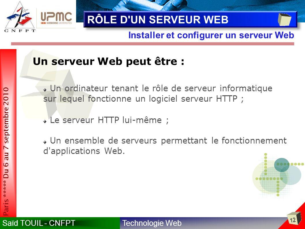 RÔLE D UN SERVEUR WEB Un serveur Web peut être :