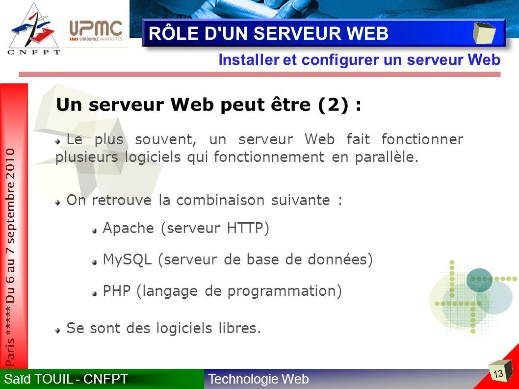 RÔLE D UN SERVEUR WEB Un serveur Web peut être (2) :