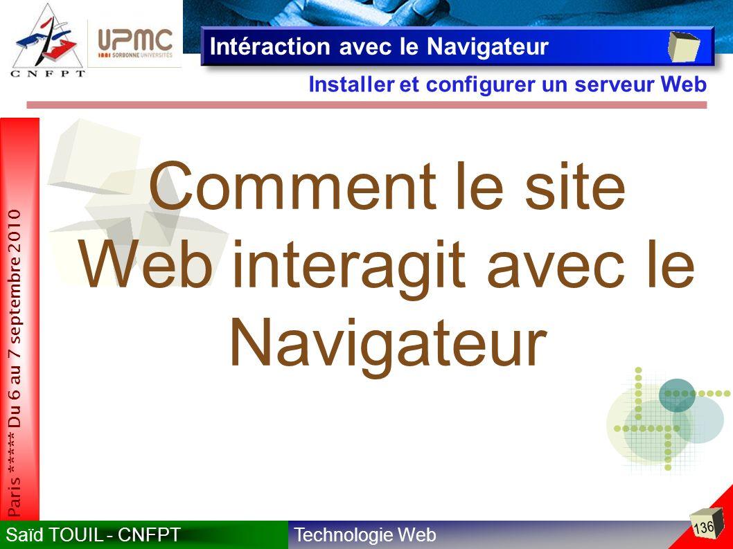 Comment le site Web interagit avec le Navigateur