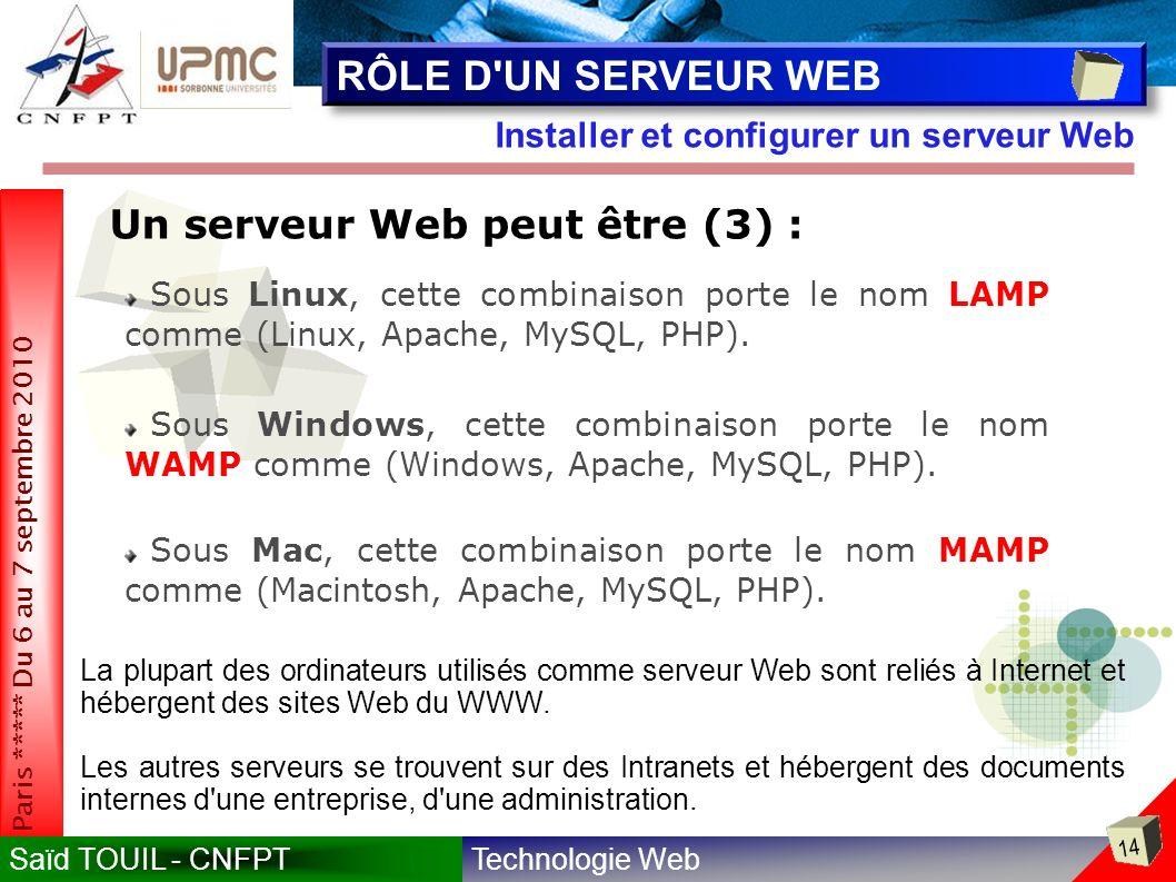 RÔLE D UN SERVEUR WEB Un serveur Web peut être (3) :