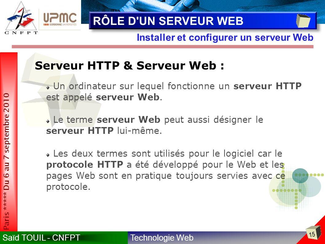 RÔLE D UN SERVEUR WEB Serveur HTTP & Serveur Web :