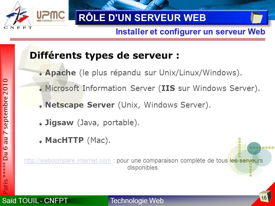 RÔLE D UN SERVEUR WEB Différents types de serveur :