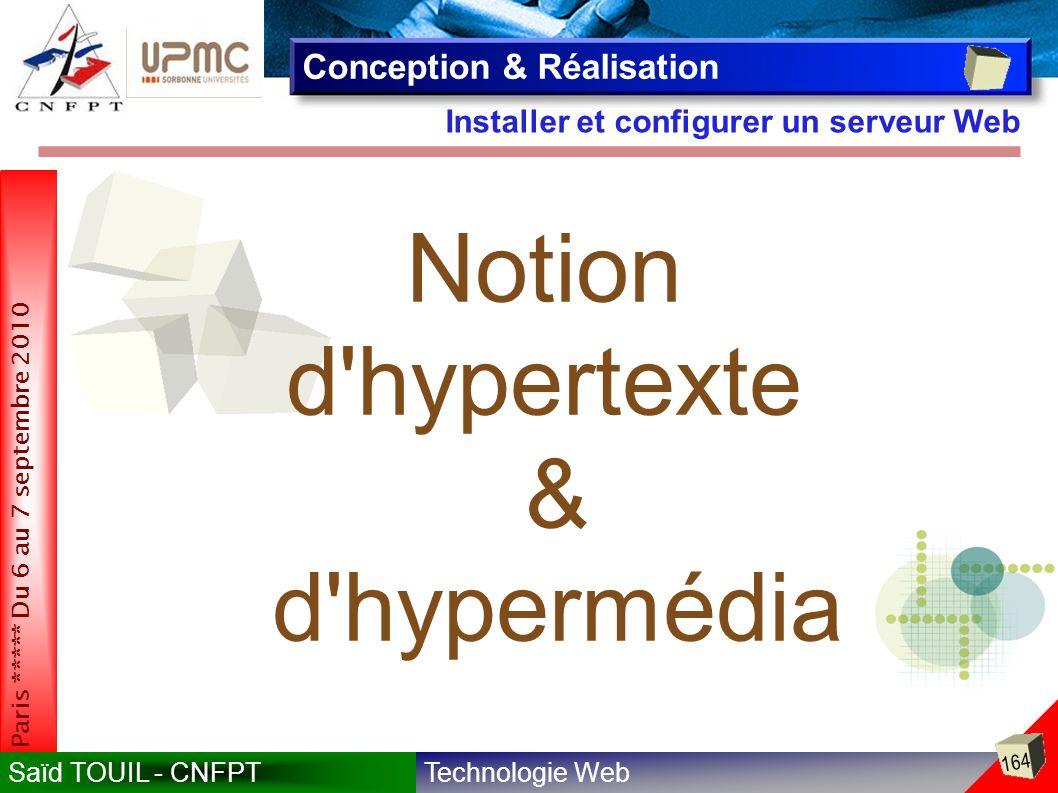 Notion d hypertexte & d hypermédia Conception & Réalisation