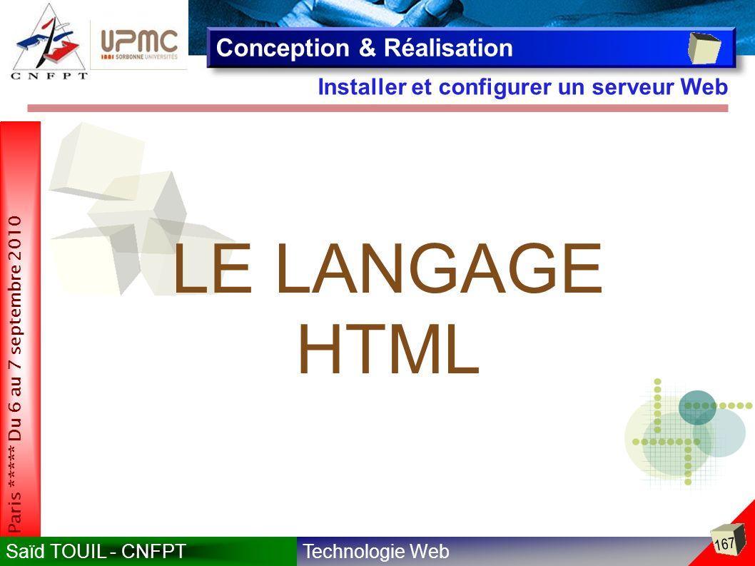 LE LANGAGE HTML Conception & Réalisation