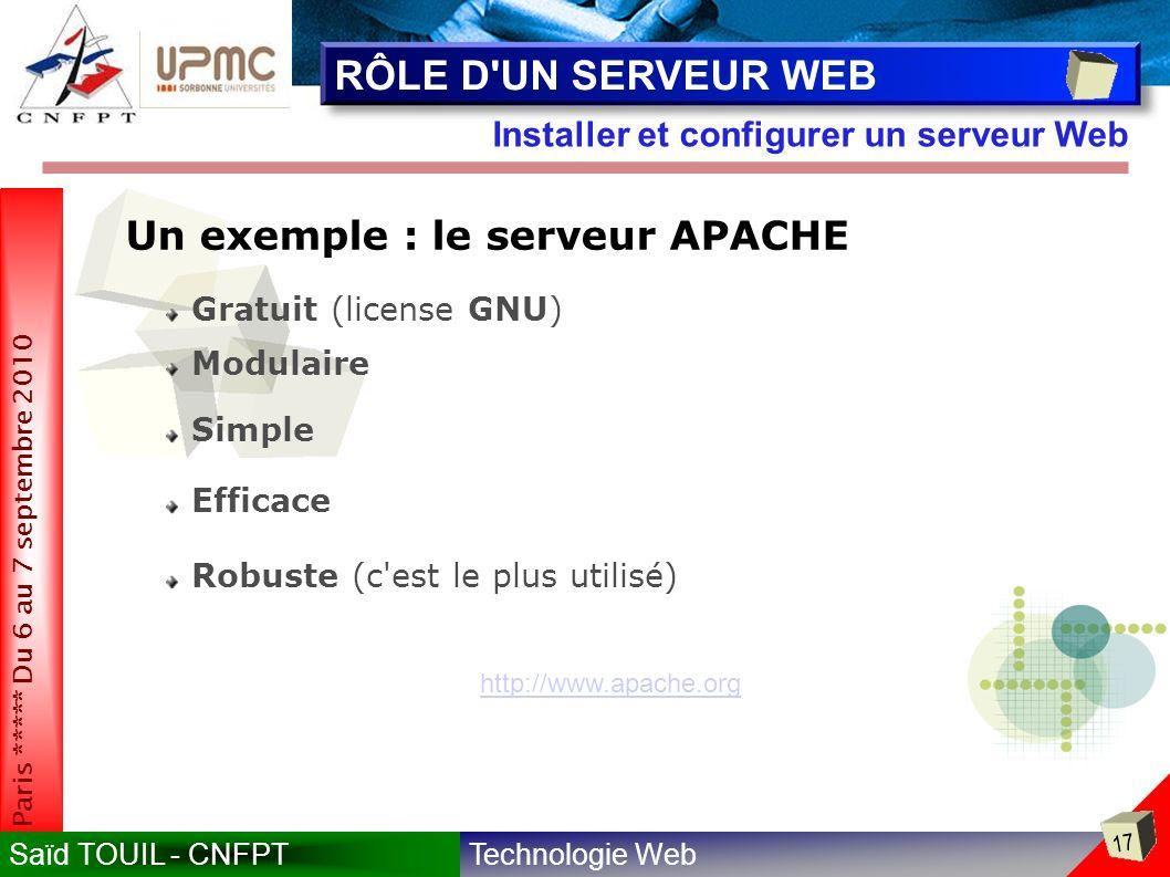 RÔLE D UN SERVEUR WEB Un exemple : le serveur APACHE