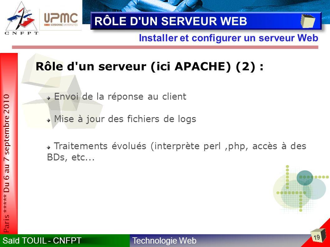 RÔLE D UN SERVEUR WEB Rôle d un serveur (ici APACHE) (2) :