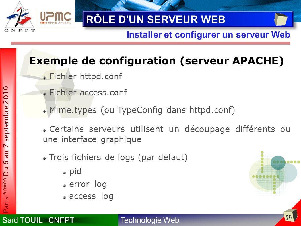 RÔLE D UN SERVEUR WEB Exemple de configuration (serveur APACHE)