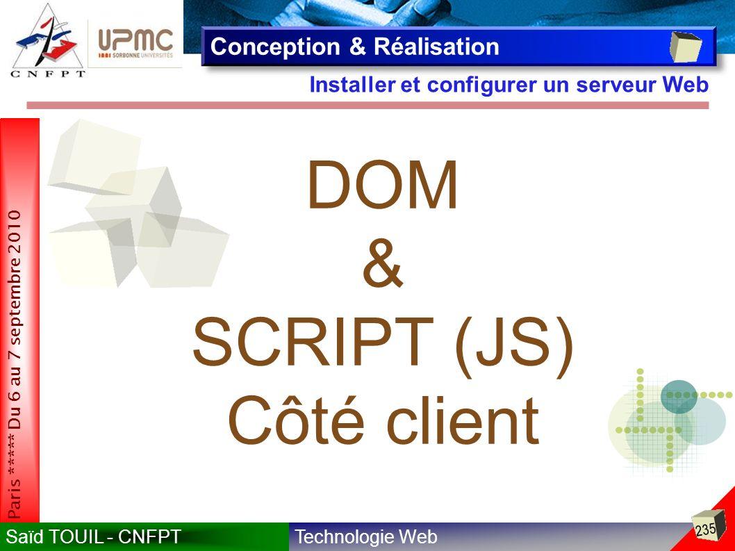 DOM & SCRIPT (JS) Côté client Conception & Réalisation