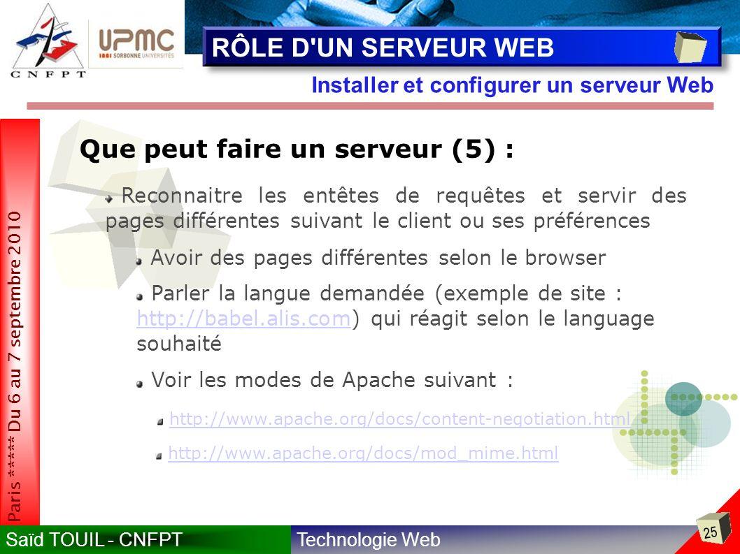RÔLE D UN SERVEUR WEB Que peut faire un serveur (5) :