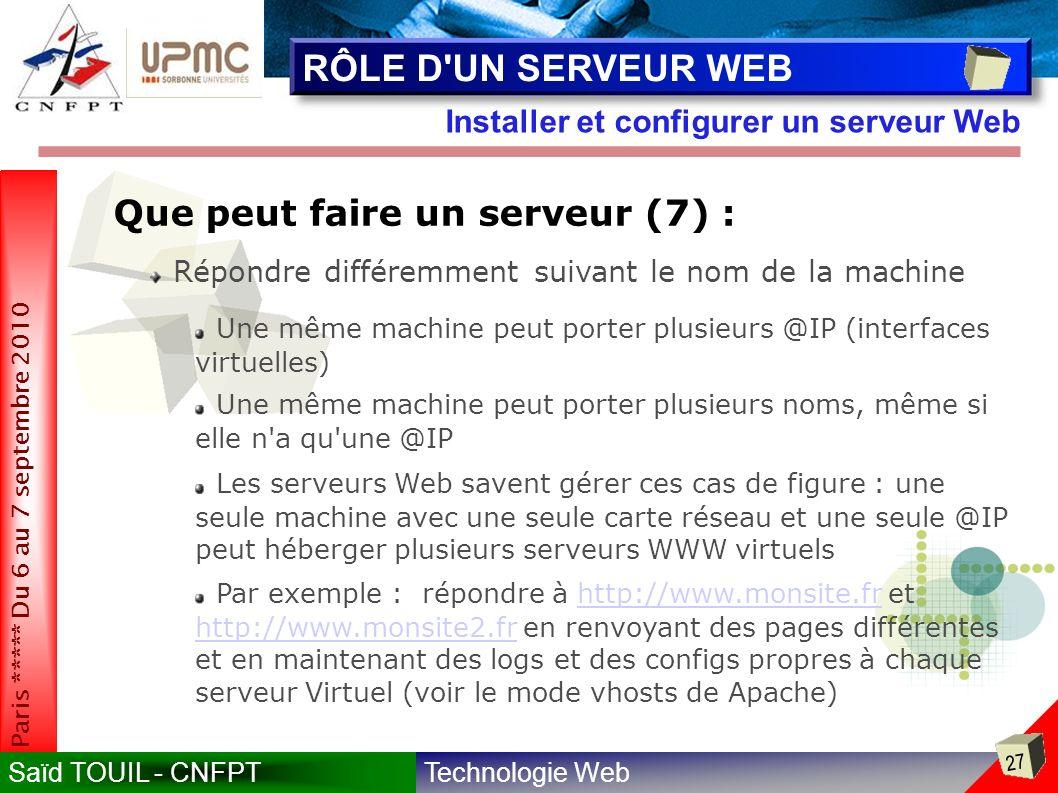 RÔLE D UN SERVEUR WEB Que peut faire un serveur (7) :