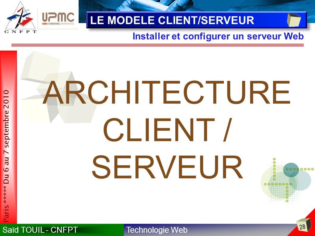 ARCHITECTURE CLIENT / SERVEUR