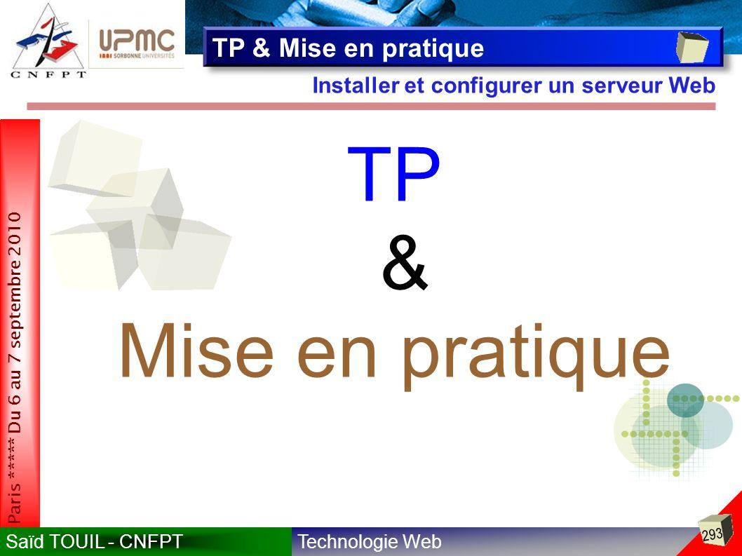 TP & Mise en pratique TP & Mise en pratique