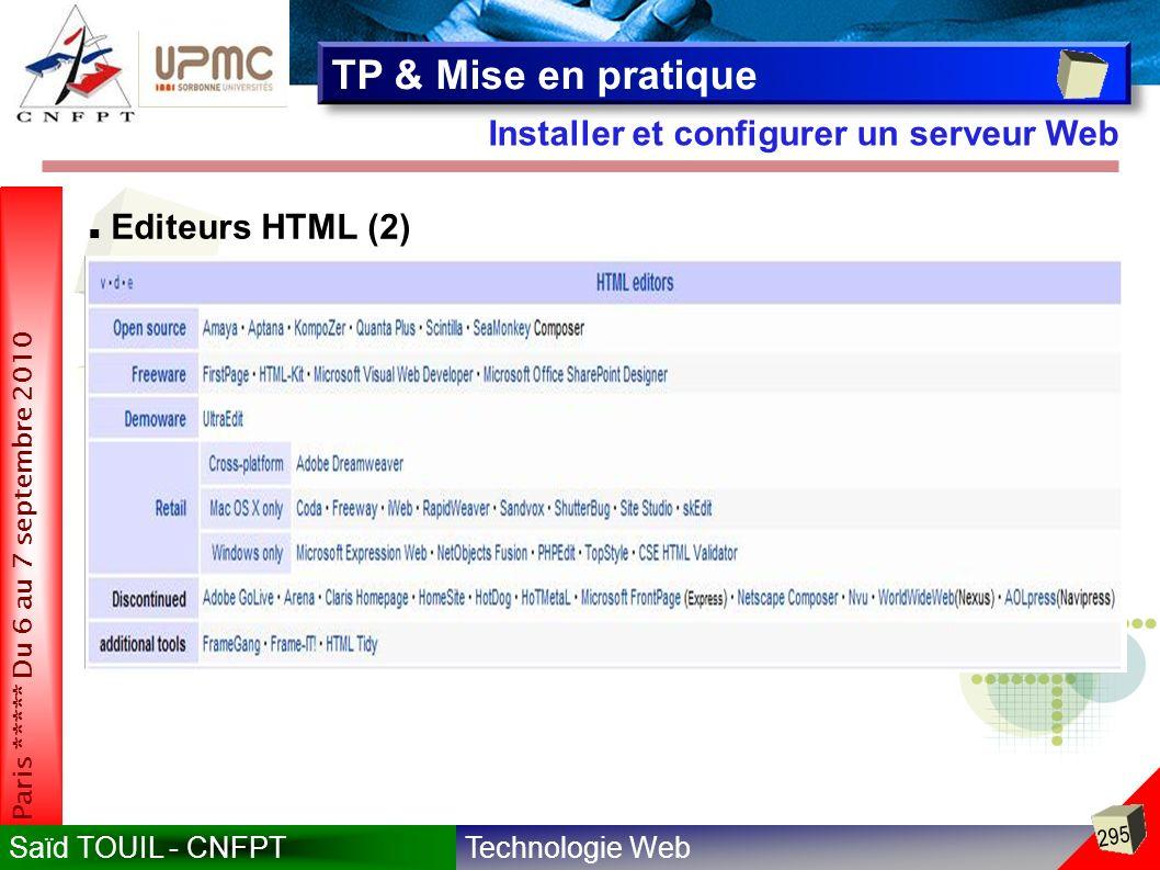 TP & Mise en pratique Installer et configurer un serveur Web