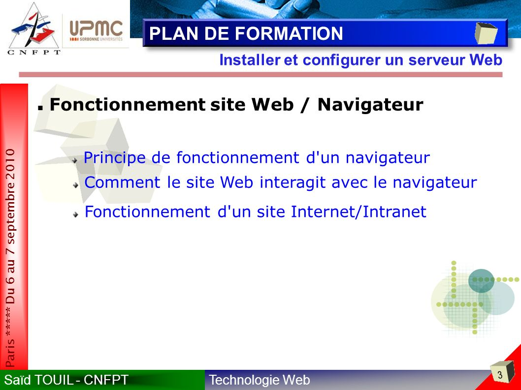 PLAN DE FORMATION Fonctionnement site Web / Navigateur