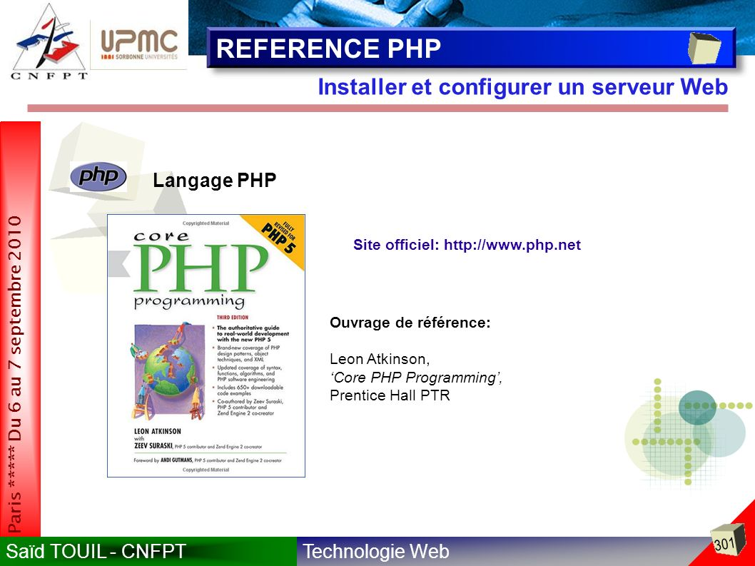 REFERENCE PHP Installer et configurer un serveur Web Langage PHP