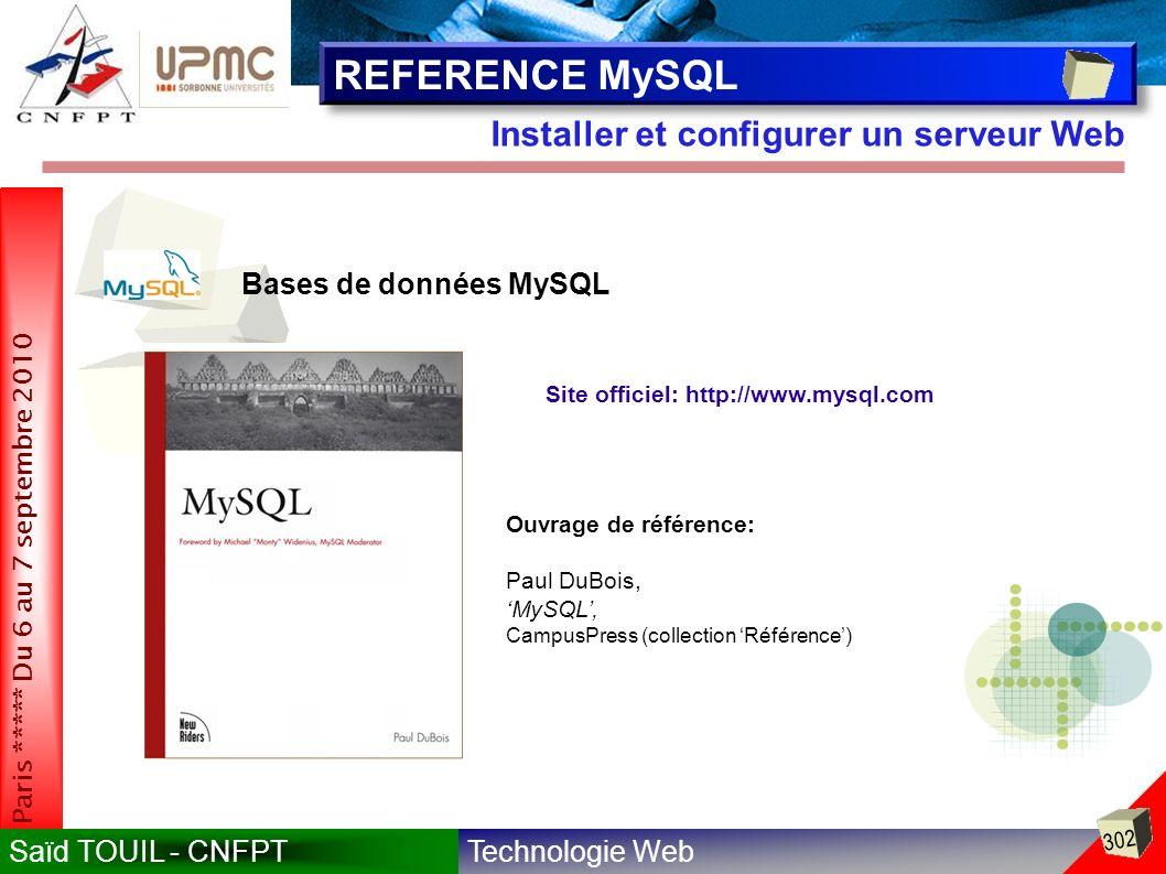 REFERENCE MySQL Installer et configurer un serveur Web