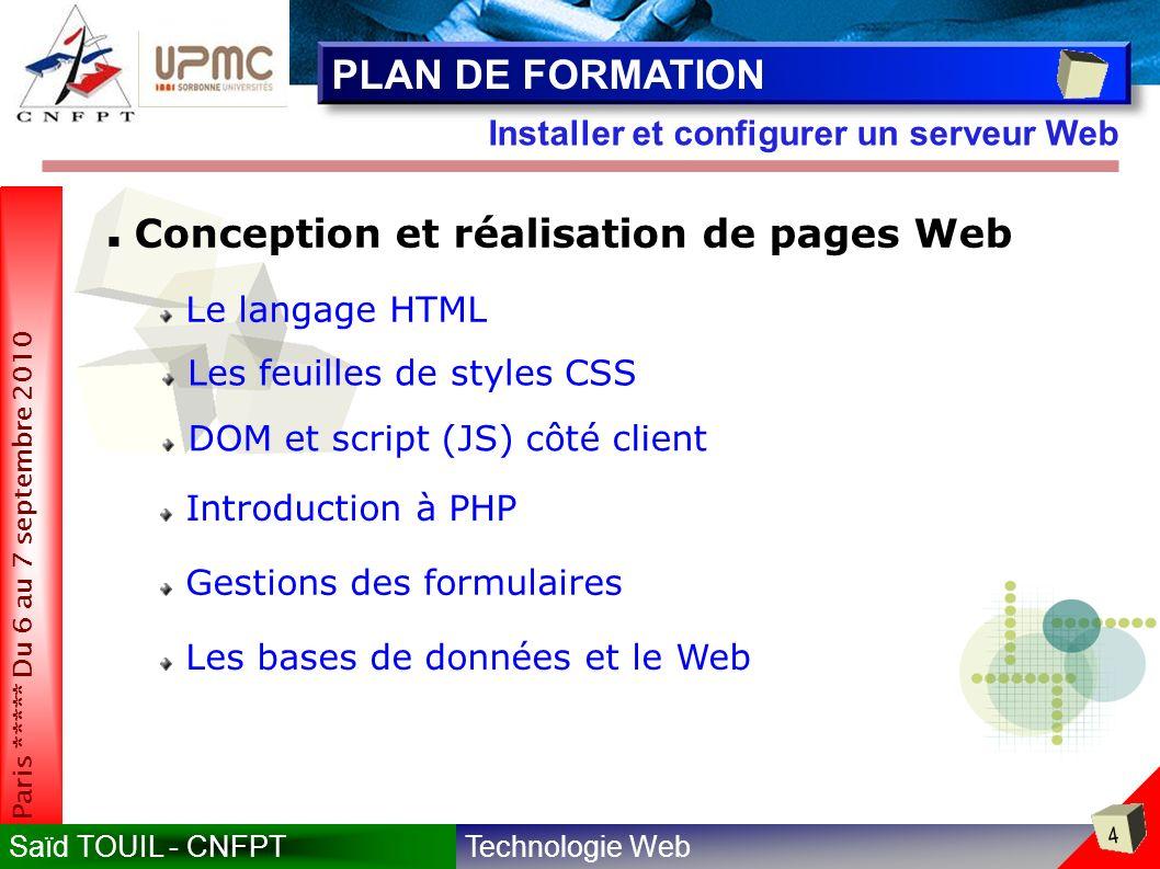 PLAN DE FORMATION Conception et réalisation de pages Web