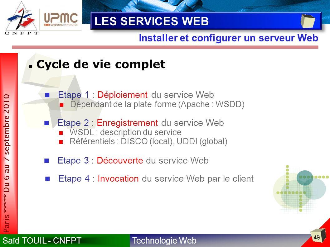 LES SERVICES WEB Cycle de vie complet