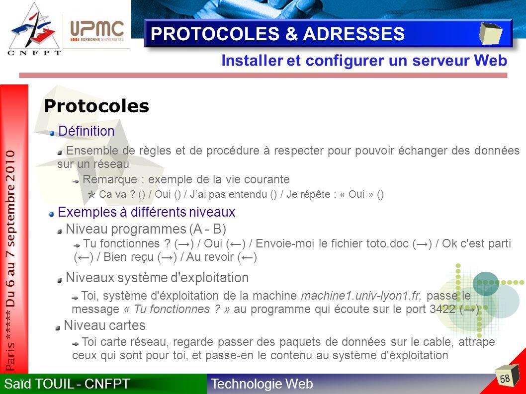 PROTOCOLES & ADRESSES Protocoles