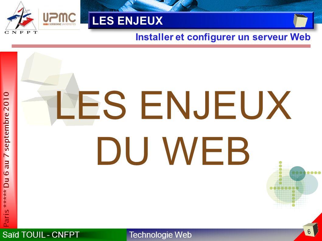 LES ENJEUX Installer et configurer un serveur Web LES ENJEUX DU WEB