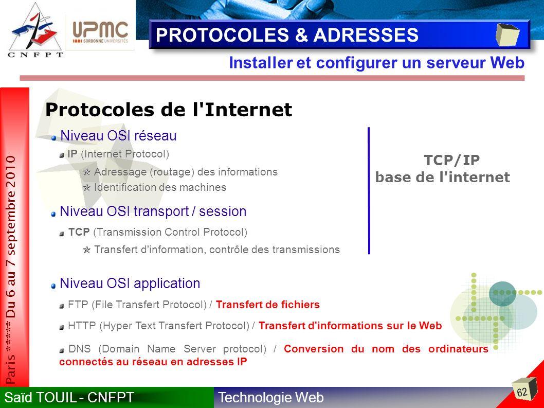 PROTOCOLES & ADRESSES Protocoles de l Internet