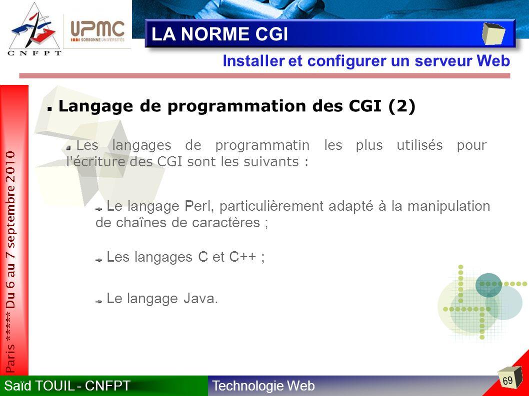 LA NORME CGI Installer et configurer un serveur Web