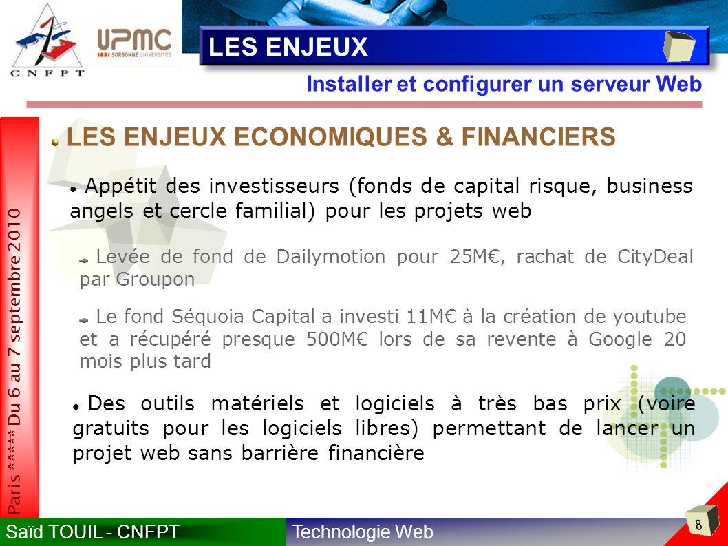 LES ENJEUX ECONOMIQUES & FINANCIERS
